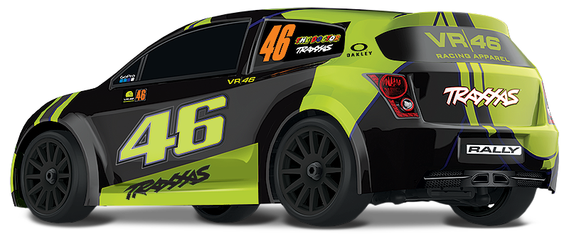 1/18 LaTrax VR46 Rally (#75064-5) Three-Quarter Rear View (Valentino Rossi VR46 Special Edition)