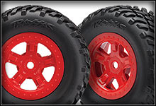 1/18 LaTrax SST (#76044-1) Wheels & Tires (Red) (#7674R)