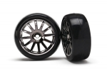 Tires & wheels, assembled, glued (12-spoke black chrome wheels, slick tires) (2)
