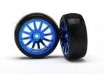 Tires & wheels, assembled, glued (12-spoke blue chrome wheels, slick tires) (2)