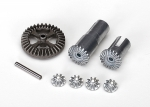 7579X Gear set, differential, metal (output gears (2)/ spider gears (4)/ ring gear, 35T (1)/ 2x14.8mm pin (1))