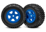 Tires and wheels, assembled, glued (SCT blue wheels, SCT off-road racing tires) (1 each, right & left)